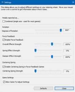 Logitech G27 Windows settings for iRacing