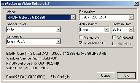 rFactor Graphics Configuration (rF Config)