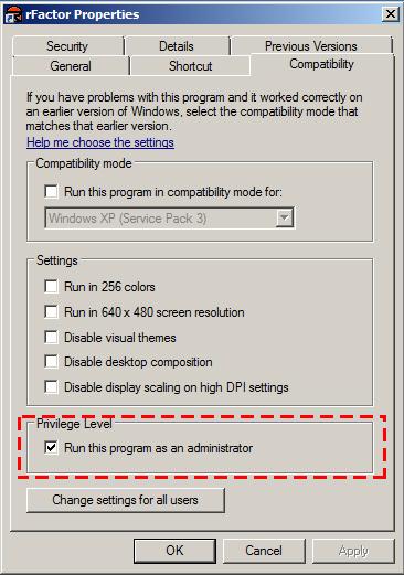 Run rFactor as Administrator