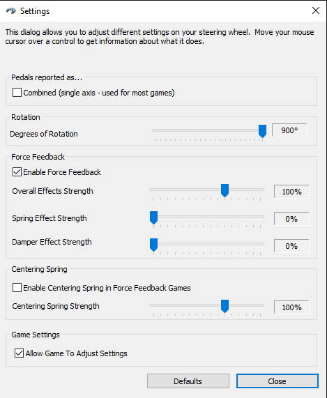 Logitech G27 Settings for Windows - Force Feedback On