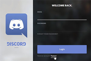 Click Register to set up your Discord account