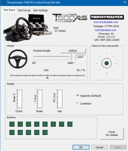 Thrustmaster T500RS Settings - Test Input Tab