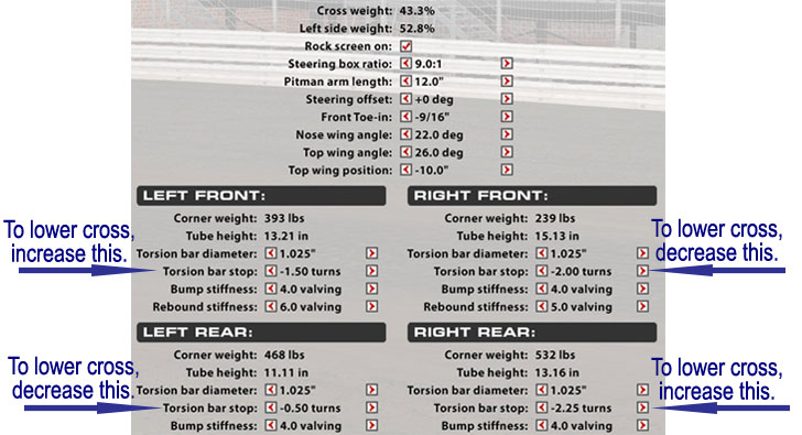How to Lower iRacing Sprint Car Cross Weight