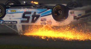 Ty Majeski Upside Down in his Truck at Daytona International Speedway