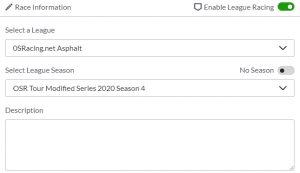 iRacing League Session, League Season Configuration